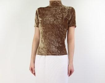 VINTAGE Crushed Velvet Top 1990s Mock Neck Shortsleeve Shirt