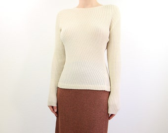 VINTAGE 1990s Ribbed Knit Top Longsleeve Cream