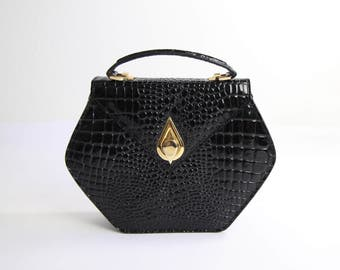 VINTAGE Black Handbag Faux Crocodile Leather Bag