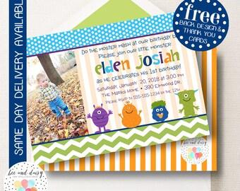 Monster Invitation, Monster Birthday Invitation, Monster Party, Boy First Birthday, Boy Birthday, Monster Invite, Monster Photo Invite