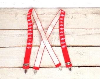 Vintage short orders red stretch clip suspenders/wide red braces/red lumberjack suspenders