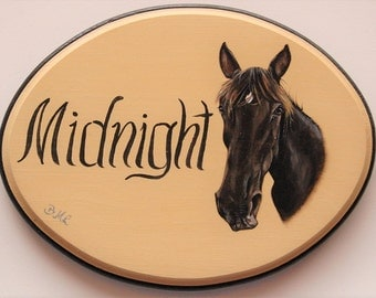 Custom Stall Sign - horse portrait painting , 7 x 9 onch horse  sign - stall plaque