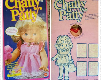Vintage In the Original Box Chatty Patty Blonde Talking Doll 1980s Puppy Gift Comb Mirror Brush Bag Directions Tag