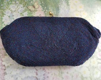 Vintage Bags By Josef Made in Japan Iridescent Blue Purple Beaded Evening Clutch Kiss Closure 1950s