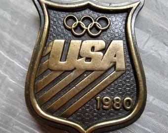 Vintage Bergamot Brass Works Belt Buckle Olympics 1980 USA Olympic Rings As Is