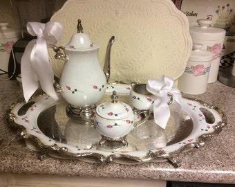 Vintage Silver Tea Set /Custom Painted