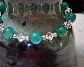 Green Aventurine and Swarovski Crystal Bracelet