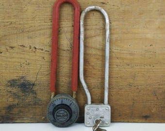 Vintage Long Shackle Padlocks, set of 2 / Master Lock, Walsco