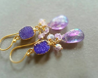 New! Mystic Pink Amethyst with Lavender Druzy Gold Vermeil Drop Earrings