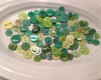 Two Hole Buttons - 100 assorted green 2 hole buttons