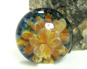 Golden Bouquet - Lampwork Glass Cabochon - Jewelry Making Supply - 16mm