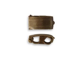 Vintaj Bracelet Foldover Clasp, 13mm x 6.5mm (Large), Vintaj Natural Brass, Set of 2pcs - Vintaj Item CL0001 - ID 2206-SET2