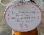 "60 Baby Shower Custom 3"" Thank You Favor Tags - For Wine and Champagne Bottles - Pop and Cheer with Poem - Baby Feet Shower or Sprinkle Tags"