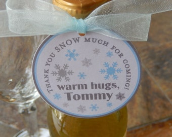 "50 Thank You SNOW Much Custom 2"" Favor Tags - warm hugs - for Mason Jar Gifts - Mini Wine Bottles - Disney Frozen Party Favors - Snowflakes"
