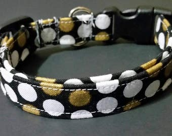 "small dog collar, dog collar, puppy collar, fits 9-14"" inch neck, 5/8"" collar, female collars, Girl collars, polka-dot, black and white"