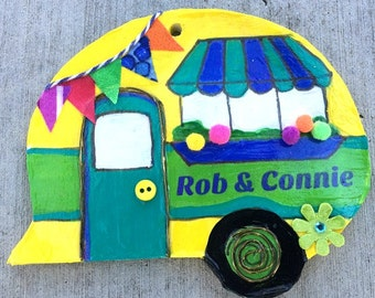 personalized, camper, ornament, magnet, vintage camper, yellow, green, decoration, camping