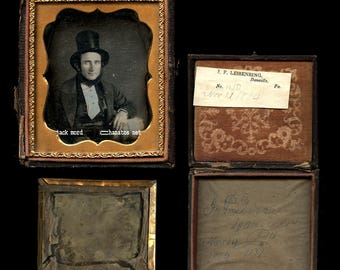1/6 Bearded Man w Top Hat DATED by Photographer JP Leisenring Danville PA 1854