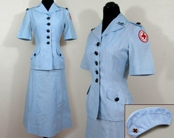 1950s Red Cross Summer Uniform Suit with Red Cross Garrison Cap - blue & white - by Sacony - Sm