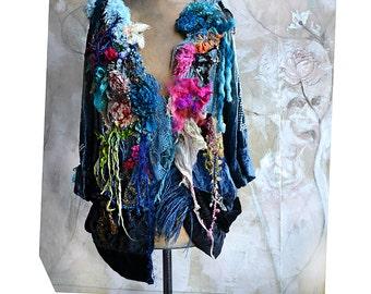 Unique Art To Wear Hippie Velvet Jacket PEACE SIGNS Flowers White/Red Parrot Tulip Silk Roses Velvet Roses Gipsy Boho Tatterd Fairy