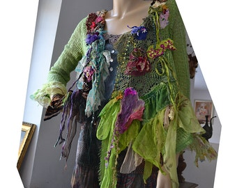 Reserved Unique Art To Wear  Forest Soft Sweater/Jacket A BIT OF SPRING  Fairy Antique Details Boho Tattered Gipsy