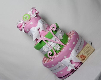 Peas in a Pod Girls Baby Diaper Cake Shower Gift or Centerpiece