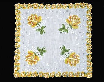 VINTAGE HANKIE Yellow Roses on Bright White Field Rose Border Embossed Ribbons Bubbles Scalloped Shaped Hem Corded 1950s New Condition