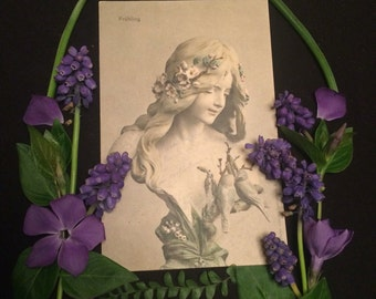German postcard- Spring - Bust of Woman with Flowers in her Hair - Antique Photo