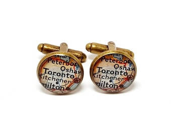 Toronto, Canada 1956 Vintage Map Cufflinks. Ready To Ship. One Pair. Wedding Cufflinks. Map Gifts For Men. Groomsmen or Groom Gifts.