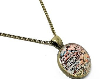 Philadelphia Map Necklace. Philadelphia Necklace. Made With A Real 1953 Vintage Map. Ready To Ship. Pennsylvania Map Pendant Necklace.