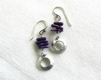 Sterling Silver Earrings, Purple Coral, Dangle Earrings, Drop Earrings, Boho, Jewelry for Women, Gift Idea, Summer Earrings, Beach