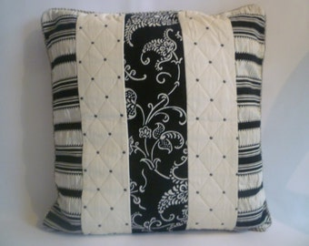 "Black Damask Pillow Cover 18"" OFF -White Designer Striped Spotty Cushion Cover- 4 matching Pillow designs available"