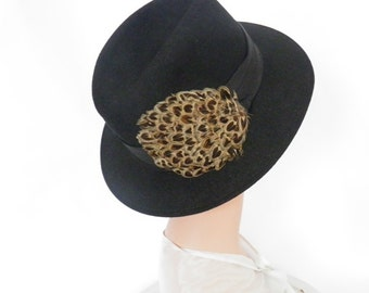 Woman's fedora hat, vintage black with feathers, Poland
