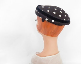 1950s cocktail hat, vintage navy blue white polka dots