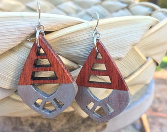 Bloodwood and Metallic Silver Earrings