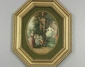 Victorian Silkscreen in Gold Frame
