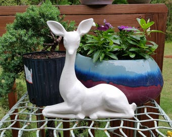 Large White Deer Statue