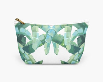 Best Makeup Bag for Travel! - Tropical Palm Designer Cosmetic Bag - Bridesmaid Gift - Gift for Her Makeup Toiletry Bag - Green Makeup Pouch