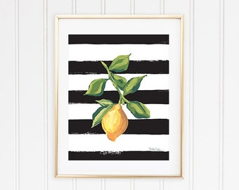 Lemon Art Print, Lemon Wall Art, Lemon Illustration, Citrus Fruit Print, Fruit Wall Print, Lemon Kitchen Decor, Picture Of Lemon