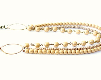 Gold beaded statement necklace, multi layer necklace