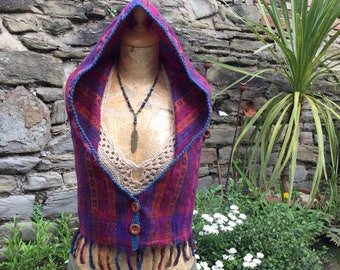 Hooded vest, Backless Pixie Elfling Waistcoat, Corset Detail