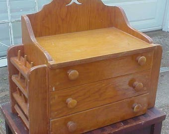 Wonderful OLD Hand Made Primitive Sewing Box Chest, Spool and Scissor Holders, Spacious Drawers, Solid Wood