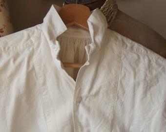 Antique French Dress Shirt Chemise Pure White Cotton Darcy Outlander Poldark shirt