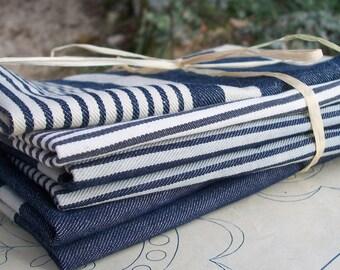 Bundle Vintage French 1930s Striped Ticking Fabric Herringbone blue navy indigo ink