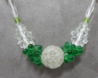 1920s Nubby Art Glass Flapper Necklace in Green     OAB20