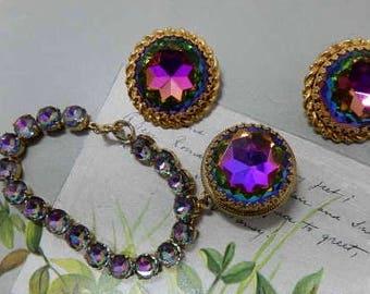 Elsa Schiaparelli Bracelet & Clip On Earrings Set w/ Watermelon Heliotrope Fob    OAE19