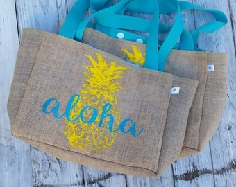 5+ Aloha Pineapple Hawaii - Custom Destination Wedding Welcome Burlap Beach Tote Bags - Handmade