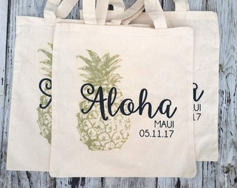 10+ Pineapple Aloha Custom Canvas Destination Wedding Welcome Tote Bags - Eco-Friendly Natural Cotton Canvas