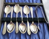 Antique Art Nouveau Silver Plated Boxed Tea Coffee Spoons and Sugar Nips