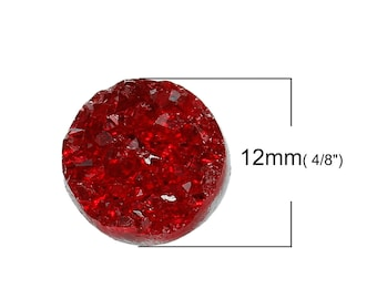 10 pcs Druzy Resin Embellishment Cabochons Wine Passion Dark Red AB - 12mm (1/2 in)