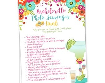 Fiesta Theme Bachelorette Party Photo Scavenger Hunt Game With Margarita Tequila And Colorful Flowers